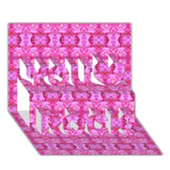 Pretty Pink Flower Pattern You Rock 3d Greeting Card (7x5)  by Costasonlineshop