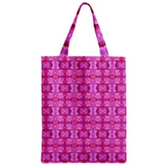 Pretty Pink Flower Pattern Zipper Classic Tote Bags by Costasonlineshop