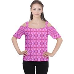 Pretty Pink Flower Pattern Women s Cutout Shoulder Tee by Costasonlineshop