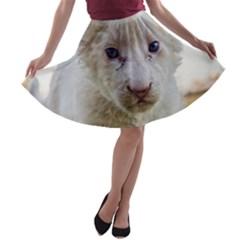 White Lion Cub A Line Skater Skirt