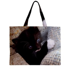 Pretty Blue Eyed Kitty Zipper Tiny Tote Bags by trendistuff