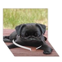 Alert Pug Puppy Heart Bottom 3d Greeting Card (7x5)  by trendistuff