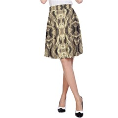 Gold Fabric Pattern Design A-Line Skirt by Costasonlineshop