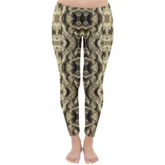 Gold Fabric Pattern Design Winter Leggings  by Costasonlineshop