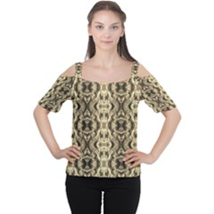 Gold Fabric Pattern Design Women s Cutout Shoulder Tee by Costasonlineshop