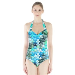Mosaic & Co 02a Women s Halter One Piece Swimsuit by MoreColorsinLife
