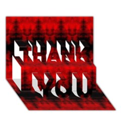 Red Black Gothic Pattern THANK YOU 3D Greeting Card (7x5)  by Costasonlineshop
