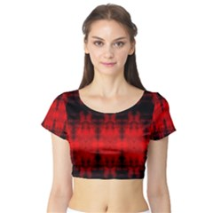 Red Black Gothic Pattern Short Sleeve Crop Top by Costasonlineshop