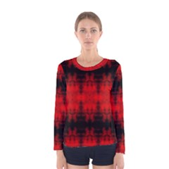 Red Black Gothic Pattern Women s Long Sleeve T-shirts by Costasonlineshop