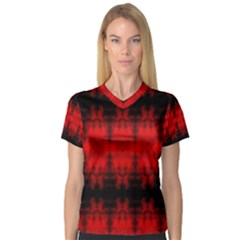 Red Black Gothic Pattern Women s V-Neck Sport Mesh Tee by Costasonlineshop
