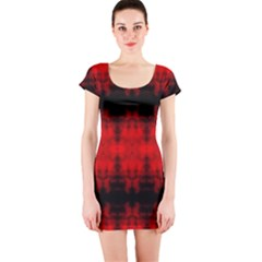 Red Black Gothic Pattern Short Sleeve Bodycon Dresses by Costasonlineshop