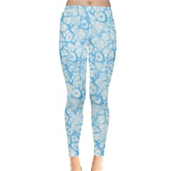 Officially Sexy Baby Blue & White Cracked Pattern Leggings  by OfficiallySexy