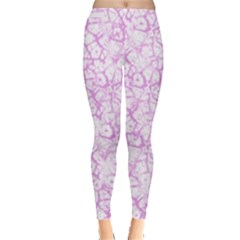 Officially Sexy Light Pink & White Cracked Pattern Leggings  by OfficiallySexy