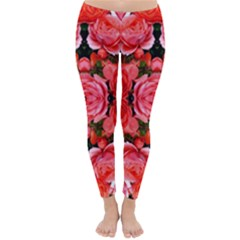 Beautiful Red Roses Winter Leggings  by Costasonlineshop