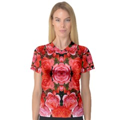 Beautiful Red Roses Women s V-Neck Sport Mesh Tee by Costasonlineshop