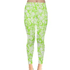 Officially Sexy Lime & White Cracked Pattern Leggings  by OfficiallySexy