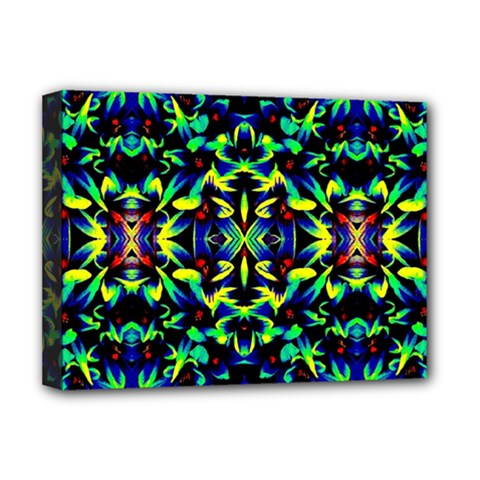 Cool Green Blue Yellow Design Deluxe Canvas 16  X 12   by Costasonlineshop