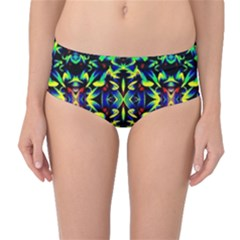 Cool Green Blue Yellow Design Mid Waist Bikini Bottoms by Costasonlineshop