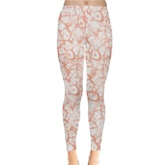 Officially Sexy Peach & White Cracked Pattern Leggings  by OfficiallySexy