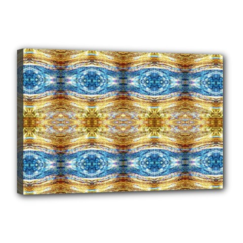 Gold And Blue Elegant Pattern Canvas 18  x 12  by Costasonlineshop