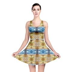 Gold And Blue Elegant Pattern Reversible Skater Dresses by Costasonlineshop