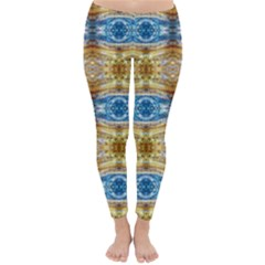 Gold And Blue Elegant Pattern Winter Leggings  by Costasonlineshop