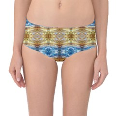 Gold And Blue Elegant Pattern Mid Waist Bikini Bottoms by Costasonlineshop