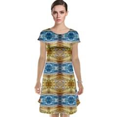 Gold And Blue Elegant Pattern Cap Sleeve Nightdresses by Costasonlineshop