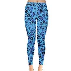 Officially Sexy Baby Blue & Black Cracked Pattern Leggings  by OfficiallySexy