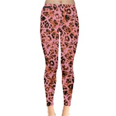 Officially Sexy Peach & Black Cracked Pattern Leggings  by OfficiallySexy