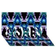 Blue, Light Blue, Metallic Diamond Pattern SORRY 3D Greeting Card (8x4)  by Costasonlineshop