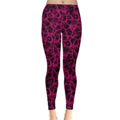 Officially Sexy Pink & Black Cracked Pattern Leggings  by OfficiallySexy