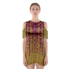 Japanese strawberry tree in gold Women s Cutout Shoulder Dress