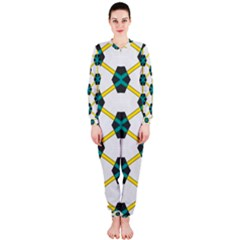 Blue stars and honeycomb pattern OnePiece Jumpsuit (Ladies) by LalyLauraFLM