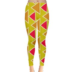 Red Brown Triangles Pattern Leggings by LalyLauraFLM
