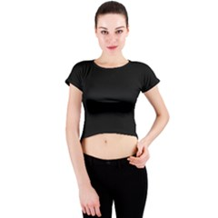 Black Gothic Crew Neck Crop Top by Costasonlineshop