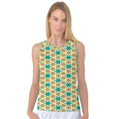 Stars and squares pattern Women s Basketball Tank Top