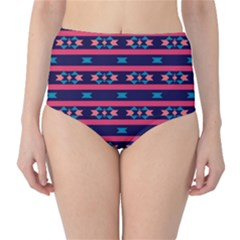 Stripes And Other Shapes Pattern High Waist Bikini Bottoms by LalyLauraFLM