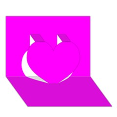 Trendy Purple  Heart 3d Greeting Card (7x5)  by Costasonlineshop