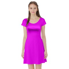 Trendy Purple  Short Sleeve Skater Dresses by Costasonlineshop