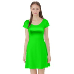 Cool Green Short Sleeve Skater Dress by Costasonlineshop