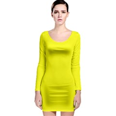 Beautiful Yellow Long Sleeve Bodycon Dress by Costasonlineshop