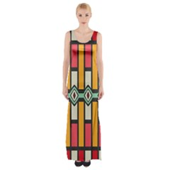 Rhombus And Stripes Pattern Maxi Thigh Split Dress by LalyLauraFLM