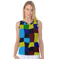 Distorted squares in retro colors Women s Basketball Tank Top
