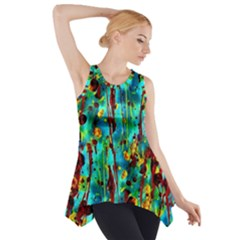 Turquoise Blue Green  Painting Pattern Side Drop Tank Tunic by Costasonlineshop