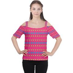 Hearts and rhombus pattern Women s Cutout Shoulder Tee