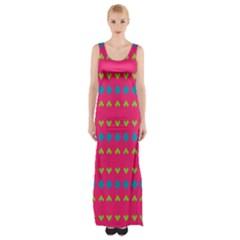 Hearts And Rhombus Pattern Maxi Thigh Split Dress by LalyLauraFLM