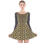 flora pattern - Long Sleeve Velvet Skater Dress