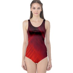 Red Abstract One Piece Swimsuit by timelessartoncanvas