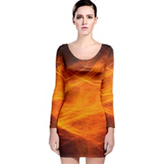 Orange Wonder Long Sleeve Velvet Bodycon Dress by timelessartoncanvas
